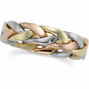 Bands-Midwest Jewellery TRI COLOR HAND WOVEN BAND 14K Yellow/White/Rose Gold SIZE 10