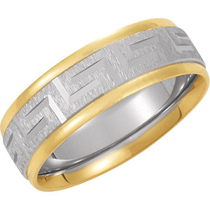 Bands-Midwest Jewellery TWO TONE COMFORT FIT DESIGN BAND 14K White/Yellow Gold SIZE 07.00 (YWY) at Sears.com