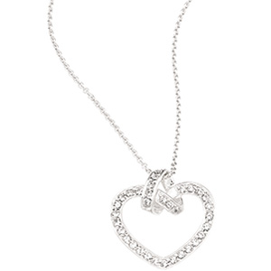 65360 / Sterling Silver / Polished / CUBIC ZIRCONIA HEART NECKLACE