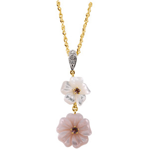 66719 / 14K Yellow / .005 CT TW / Polished / GENUINE PINK TOURMALINE, MOTHER OF PEARL & DIAMOND PENDANT