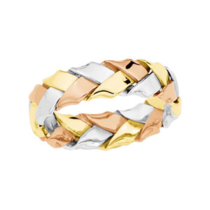 Bands-Midwest Jewellery TRI COLOR HAND WOVEN BAND 14K Yellow/White/Rose Gold SIZE 11