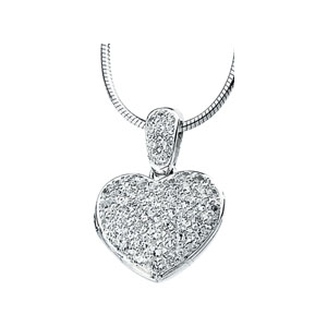 63659 / Sterling Silver / NECKLACE / Polished / CUBIC ZIRCONIA HEART LOCKET NECKLACE