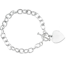 BRC276 / Sterling Silver / 8 INCH / Polished / CABLE BRACELET W/TOGGLE & HRT