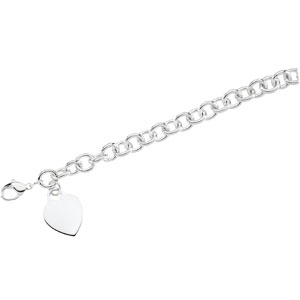 CH341 / Sterling Silver / 7 1/2 INCH / Polished / ROUND LINK BRACELET W/HEART