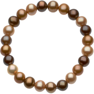 66592 / 06.50 INCH/ 8.00-09.00MM / Polished / FRESHWATER CULTURED DYED CHOCOLATE PEARL BRACELET