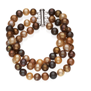 66616 / Sterling Silver / 08.00 - 09.00MM/07.25 INCH / Polished / FRESHWATER DYED CHOCOLATE CULTURED PEARL TRIPLE STRAND BRACELET