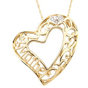 R45096 / 14KY/RHODIUM PLATED / 25.25X25.00 MM / Polished / MOTHER HEART PENDANT