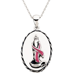 R45186 / Sterling Silver / PENDANT / Polished / BREAST CANCER AWARENESS BLESSED PENDANT ON A 18 INCH CHAIN